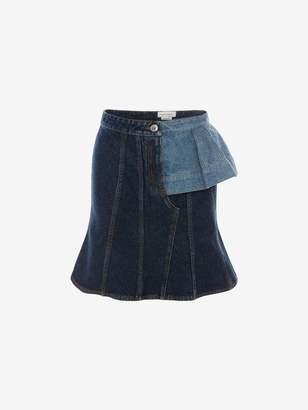 Alexander McQueen Pieced Denim Mini Skirt
