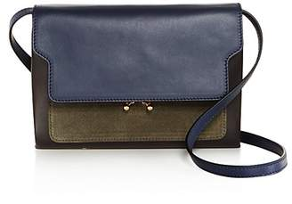Marni Trunk Mini Leather and Suede Crossbody