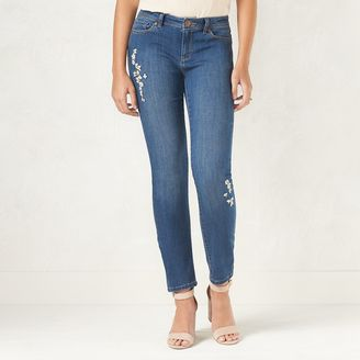 Women's LC Lauren Conrad Embroidered Skinny Jeans $50 thestylecure.com