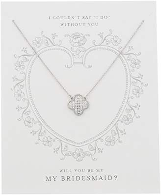 "clear Sterling Silver Cubic Zirconia ""Be My Bridesmaid"" Gift on Sentiment Card Necklace"