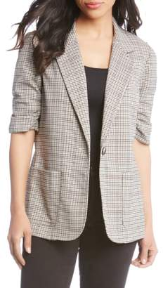 Karen Kane Ruched Sleeve Plaid Jacket
