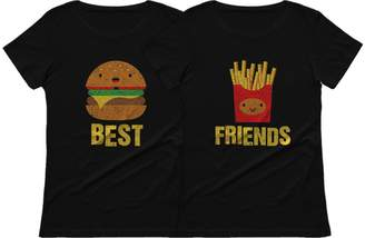 Junk Food Clothing Tstars Best Friends Set BFF Shirt Set Burger & Fries Junk-food Matching Women T-Shirts Burger Black Medium / Fries Black Small