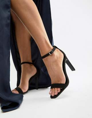 Glamorous black barely there heeled sandals