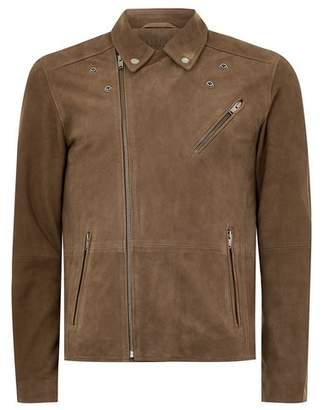 Topman Mens Brown SELECTED HOMME Suede Biker Jacket