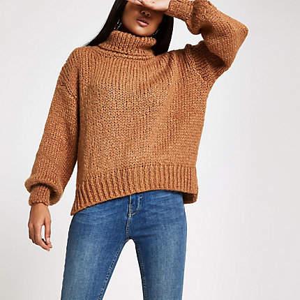 Womens Petite Beige roll neck chunky knit jumper