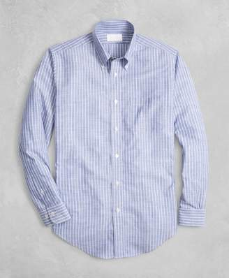 Brooks Brothers Golden Fleece Regent Fit Striped Chambray Sport Shirt