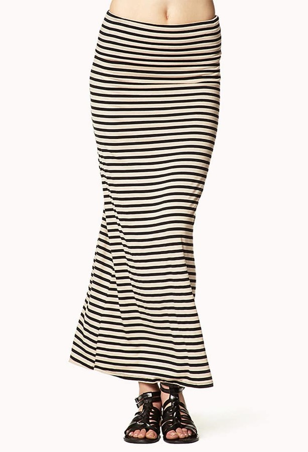 Forever 21 Striped Jersey Maxi Skirt