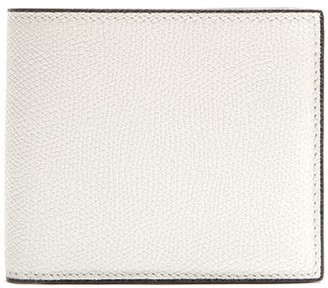 Valextra Bi Fold Grained Leather Wallet - Mens - White