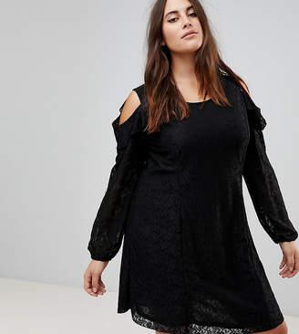 Koko Cold Shoulder Ruffle Detail Lace Shift Dress