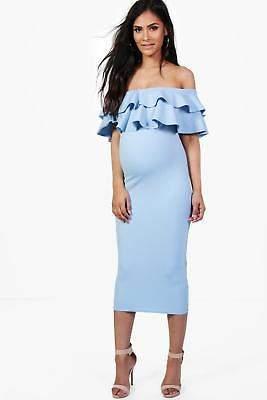 boohoo NEW Womens Maternity Ruffle Off The Shoulder Midi Dress