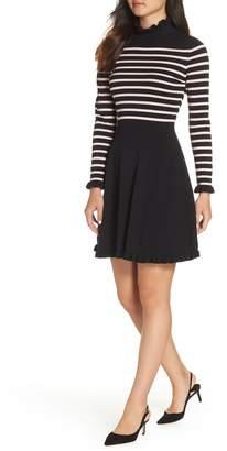 1901 Mock Neck Stripe Sweater Dress
