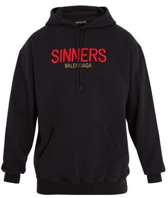 Balenciaga - Sinners Embroidered Hooded Cotton Sweatshirt - Mens - Black