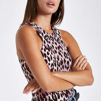 River Island Pink leopard print cut out tank