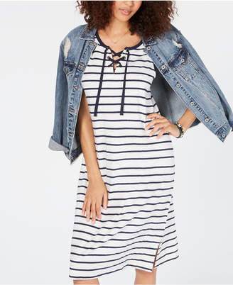 Style&Co. Style & Co Striped Lace-Up Midi Dress