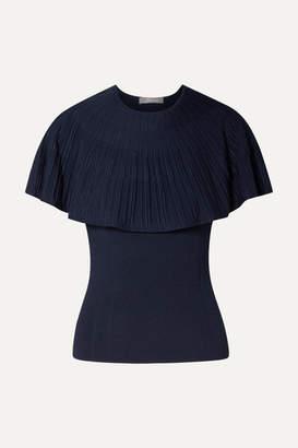 Lela Rose Cape-effect Stretch-knit Top - Navy