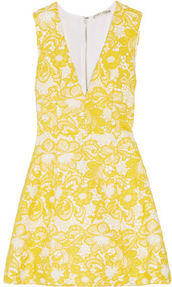 Alice + Olivia - Pacey Guipure Lace Mini Dress - Marigold $440 thestylecure.com