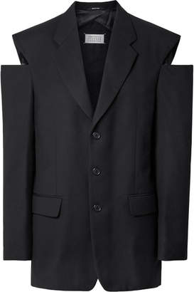 Maison Margiela Oversized Cutout Wool Blazer - Black