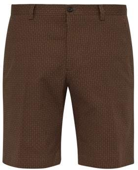 Etro Geometric Print Cotton Blend Shorts - Mens - Brown Multi