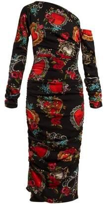 Dolce & Gabbana Secret Hearts Print Ruched Silk Blend Midi Dress - Womens - Black Multi