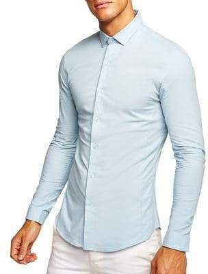 Topman Muscle Fit Textured Long Sleeve Shirt