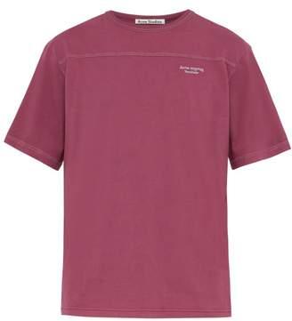 Acne Studios Embroidered Logo Cotton T Shirt - Mens - Purple
