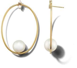 Mizuki Large Oval Pearl and Diamond Earrings - Yellow Gold