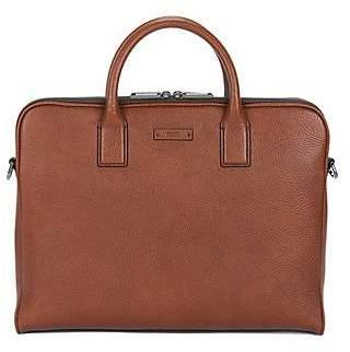 HUGO BOSS Double document case in grainy Italian leather