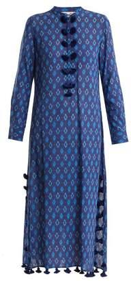 Figue - Paolina Tie Dye Tassel Trimmed Cotton Blend Kaftan - Womens - Blue Multi