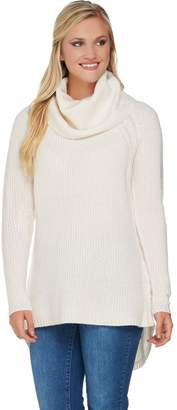 Isaac Mizrahi Live! 2-Ply Cashmere Cowl Neck Cable Knit Sweater