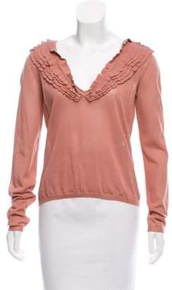 Valentino Long Sleeve Ruffle Sweater w/ Tags