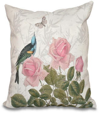 E By Design Asian Rose 16 Inch Taupe Decorative Floral Throw Pillow