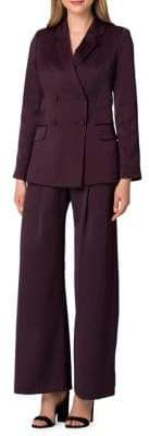 Tahari Arthur S. Levine Two-Piece Double-Breasted Wide-Leg Pant Suit