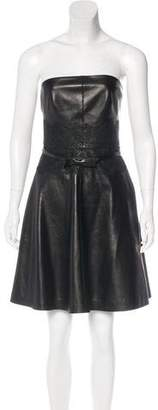 Valentino Leather Belted Dress