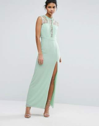 Elise Ryan Sleeveless Maxi Dress With Contrast Lace Bodice