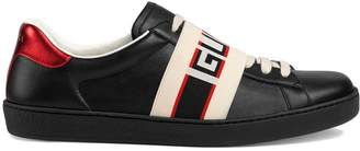 36299eea7 Gucci black, red and cream logo stripe leather sneaker