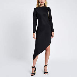 River Island Black long sleeve asymmetric dress
