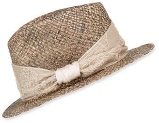Brunello Cucinelli Monili-Wrapped Straw Fedora Hat
