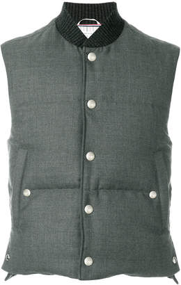 Thom Browne Center-Back Engineered Stripe Down-Filled Vest