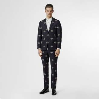 Burberry Slim Fit Fil Coupe Crest Wool Tailored Jacket