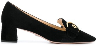 Prada buckled heeled loafers