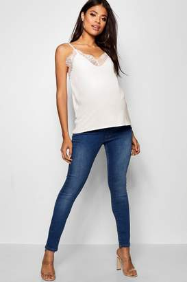 boohoo Maternity Over The Bump Skinny Rip Jeans