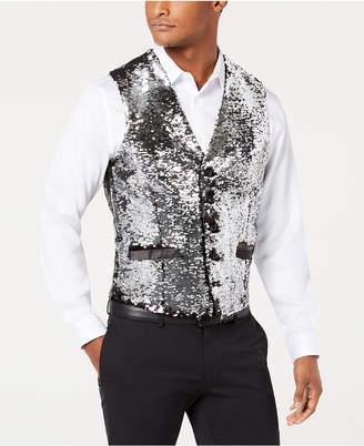 INC International Concepts I.n.c. Men's Slim-Fit Reversible Sequined Vest