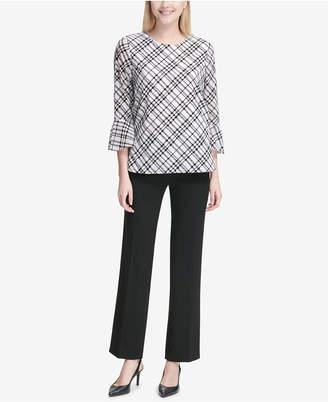 Calvin Klein Printed Bell-Sleeve Blouse