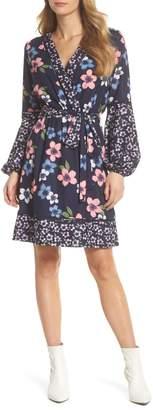 Eliza J Long Sleeve Floral Wrap Dress (Regular & Petite)