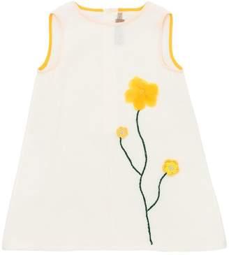 La Stupenderia Cotton & Linen Dress W/ Flower Detail