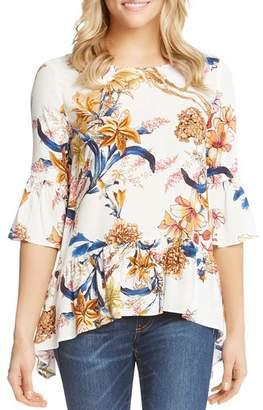 Karen Kane Floral Bell Sleeve Top