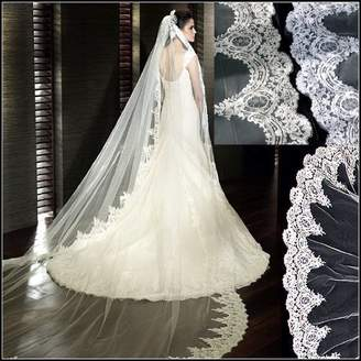 Love Shop Loveshop Top-level Quality 3 Meter Long Single-layer Embroidery Lace Edge Bridal Wedding Veil(White) by Memory Store