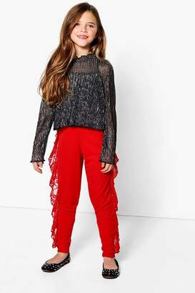 boohoo Girls Lace Ruffle Wide Leg Trouser
