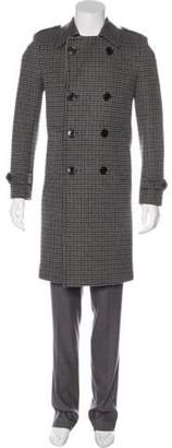 Saint Laurent 2014 Double-Breasted Houndstooth Wool Silk-Lined Coat grey 2014 Double-Breasted Houndstooth Wool Silk-Lined Coat