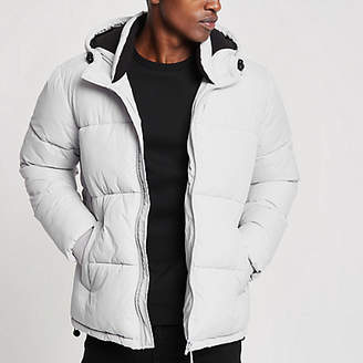 River Island Grey hooded puffer jacket with funnel neck